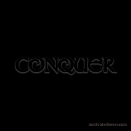 Conquer Motivational Silicone Bracelet, nero