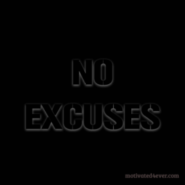 No Excuses Me Motivational Silicone Bracelet, debossed black