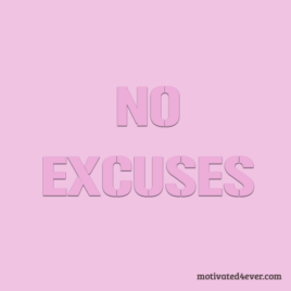 No Excuses Motivational Silicone Bracelet, debossed pink