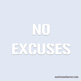 No Excuses Motivational Silicone Bracelet, debossed white
