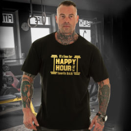 HAPPY HOUR T-shirt, gold print
