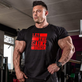 LET THE GAINZ BEGIN T-shirt, red print