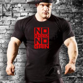 NO BRAIN NO GAIN T-shirt, black