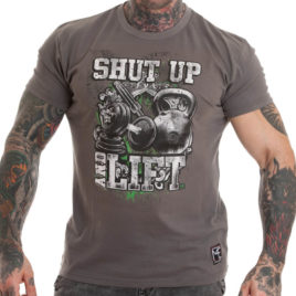 SHUT UP AND LIFT T-shirt, grey