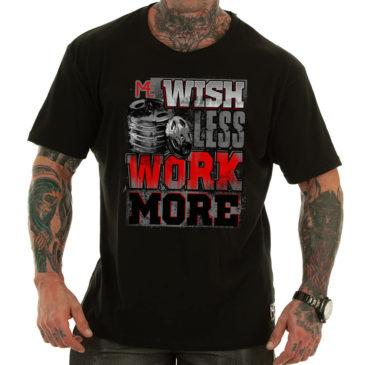 WISH LESS WORK MORE T-shirt, black