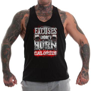 EXCUSES DON'T BURN CALORIES Stringer tank top, black
