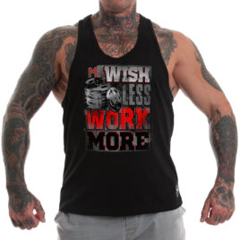 WISH LESS WORK MORE Stringer tank top, black